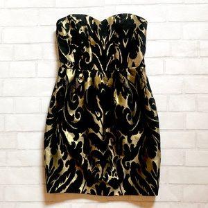 Black and Gold Brocade Dress